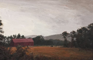 Sepia Barn, New Hampshire 41x29 Original Painting - Larry Horowitz