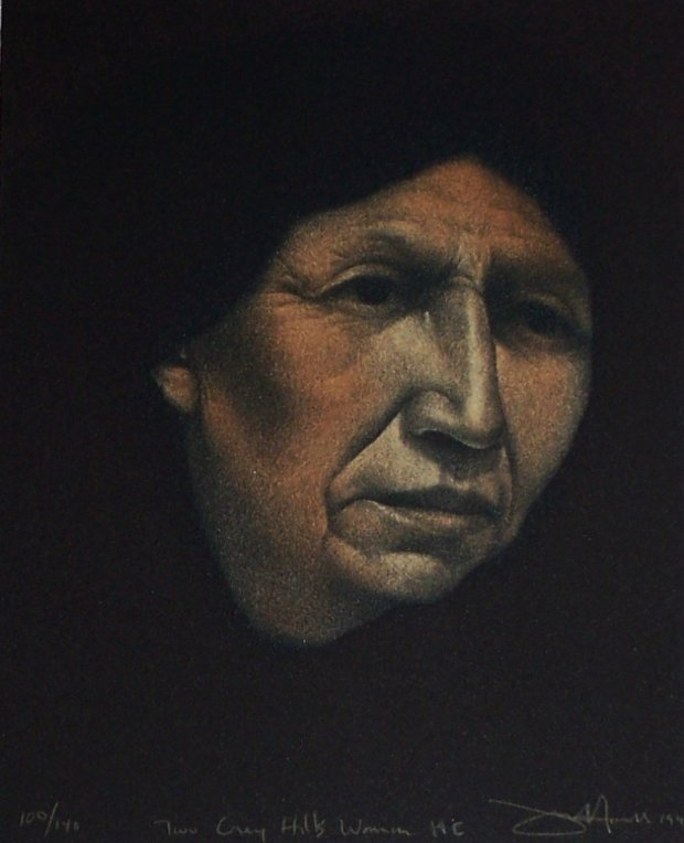 Two Grey Hills Woman-Hand Colored 1990