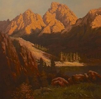 Mountain Scene 1970 45x45 Original Painting - Huertas Aguiar