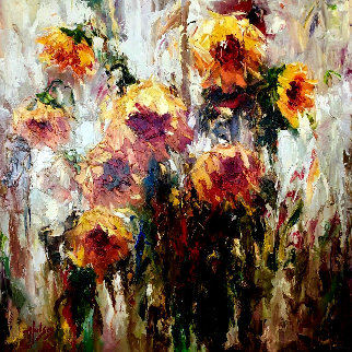 Setting Sunflowers 2007 44x44 Original Painting - Peter Hulsey