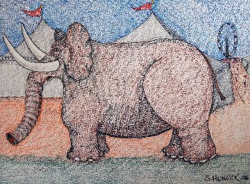 Circus Elephant 27x35 Works on Paper (not prints) - Stephen Huneck