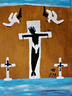 Black Christ Crucified Between Two Thieves With God's Angels 1970 30x22 Original Painting - Clementine Hunter