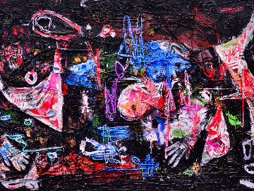 Practical World 3-D Mixed Media 2010 50x74 Original Painting - Costel Iarca