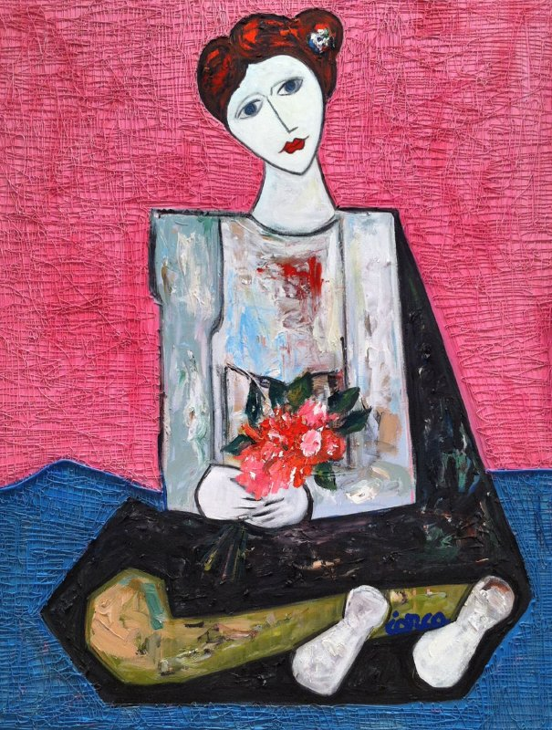 Lady  With Flowers 3-D Mixed Media 2014 62x50