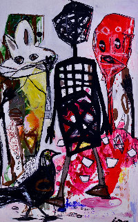 Free Time 2016 102x81 Mural Original Painting - Costel Iarca