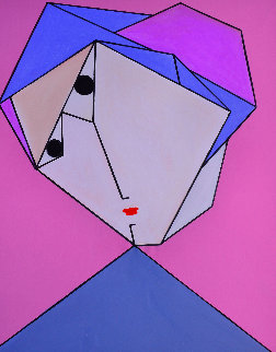 Woman in Pink And  Blue 2017 62x50 Original Painting - Costel Iarca