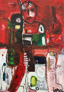 Hockey Player 2017 50x38 Original Painting - Costel Iarca