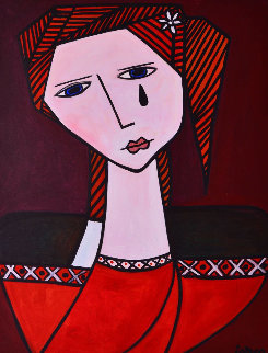 Strong Female 2013 62x50 Original Painting - Costel Iarca