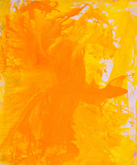 Simple Yellow 2017 74x62 Original Painting - Costel Iarca