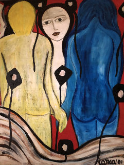 Untitled 2001 48x36 Original Painting - Costel Iarca