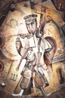 Melody of the Jewish Quarter Watercolor  2008 23x15 Watercolor - Eugene Ivanov