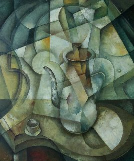 Still Life With Coffee Pot 2018 23x19 Original Painting - Eugene Ivanov