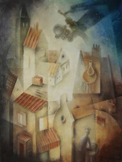 Fiddler Above the Roofs 2018 31x23 Original Painting - Eugene Ivanov