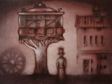 Contemplation of the Tram Growth 2018 23x31 Original Painting - Eugene Ivanov