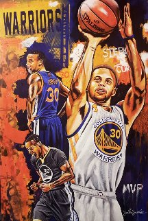 Stephen Curry, Golden Boy 2016 25x35 Original Painting - Joshua Jacobs
