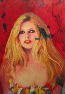 Brigitte Bardot in Colored Dress 2008 33x22 Original Painting - James F. Gill