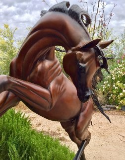 Freedom Bronze Life Size Sculpture 2016 74 in Sculpture - J. Anne Butler