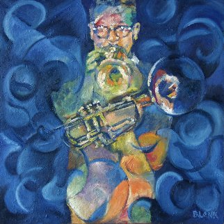 Dizzy's Horn 2006 40x40 Original Painting - Jerry Blank