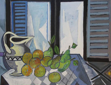 Interior Con Frutas 1989 45x37 Original Painting by Jesus Fuertes