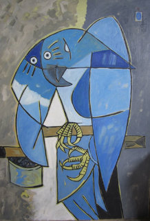 Blue Tropical Bird 1983 38x27 Original Painting - Jesus Fuertes