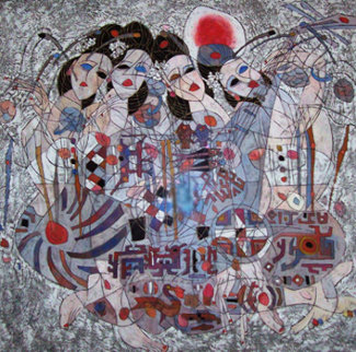Untitled Painting 1986 50x51 Original Painting - Tie-Feng Jiang