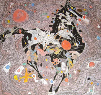 Black Horse 1988 40x40 Original Painting - Tie-Feng Jiang