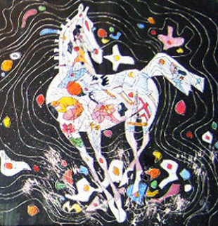 Little Horse Suite, Suite of 2 Paintings 1988 32x32 Original Painting - Tie-Feng Jiang