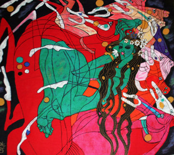 Emerald Lady Tapestry 69x64 Limited Edition Print - Tie-Feng Jiang