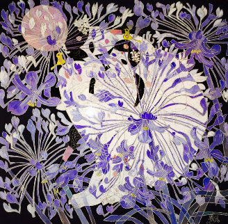Blue Daisies 1988 53x53 Original Painting - Tie-Feng Jiang