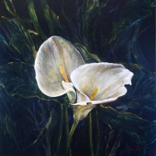 Untitled Cala Lillies 2015 24x24 Original Painting - Joseph Kinnebrew