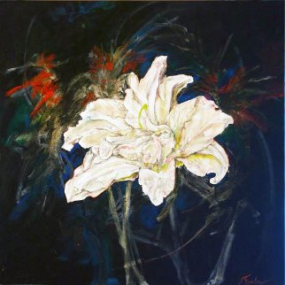 Untitled Lilies 2015 24x24 Original Painting - Joseph Kinnebrew