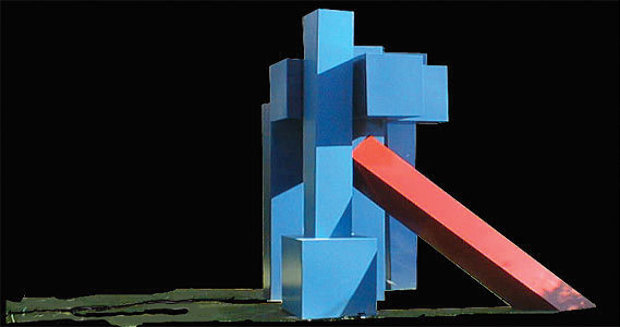 Temple Blue Steel Sculpture 1997 130x125x86