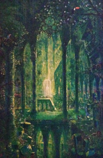 Emerald Cathedral 45x34 Original Painting - John Mason