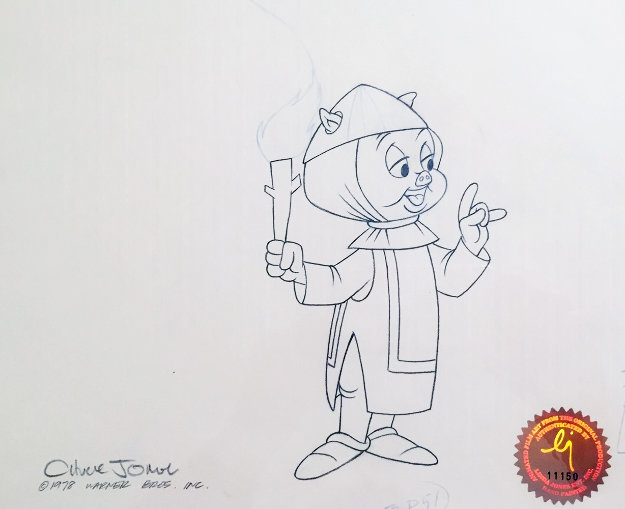 Untitled (porky Pig From Bugs Bunny in King Arthur's Court) Drawing 1978 17x34 Set of 2