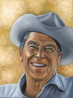 Gipper (Ronald Reagan) 24x18 Original Painting - Michael Joseph