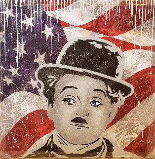 Chaplin, Flag 2018 40x40 Original Painting -  Jozza