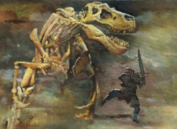 Dragon Slayer 2010 10x14 Original Painting - Ju Hong Chen
