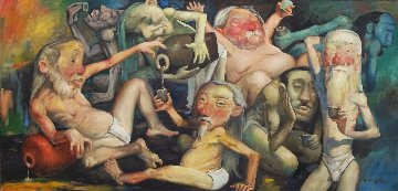 Ancient  Chinese  Nudists Drinking Party 2001 26x54 Original Painting - Ju Hong Chen