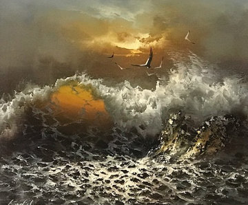 Crashing Waves 1971 22x26 Original Painting - Menashe Kadishman