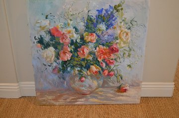 Untitled Bouquet 1990 36x36 Original Painting - S. Burrkett Kaiser