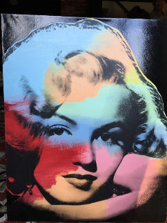 Marilyn Large Young Black Unique 1997 Original Painting - Steve Kaufman