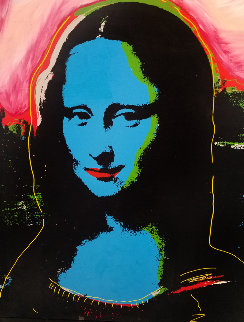 Mona Lisa - Blue PP Embellished Limited Edition Print - Steve Kaufman
