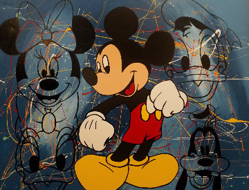 Mickey Mouse And Friends Embellished 47x37 Limited Edition Print - Steve Kaufman