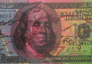 New $100 Bill Splattered Unique  Embellished   Limited Edition Print by Steve Kaufman