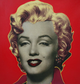 Marilyn Icon Red 24x24 Embellished  Limited Edition Print - Steve Kaufman