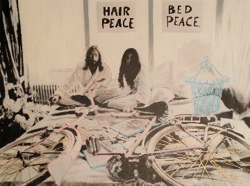 John Lennon and Yoko Ono Hair Peace / Bed Peace Unique 2006 35x48 Original Painting - Steve Kaufman