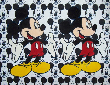 Disney Double Mickey Mouse 2000 Unique 38x48 Original Painting - Steve Kaufman
