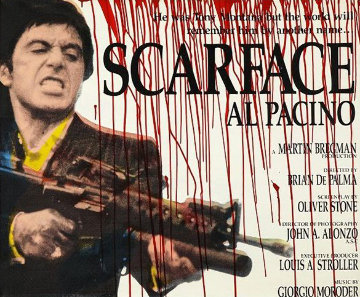 Blood Scarface (Al Pacino) Unique 36x45 2000 Original Painting - Steve Kaufman