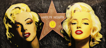 Double Marilyn - Hollywood Star Unique 28x60 Original Painting - Steve Kaufman