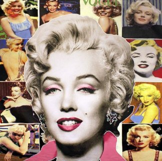 Pop Marilyn Collage - White Hair 48x48 Unique Original Painting - Steve Kaufman